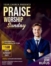 Praise Worship Sunday Service Flyer template