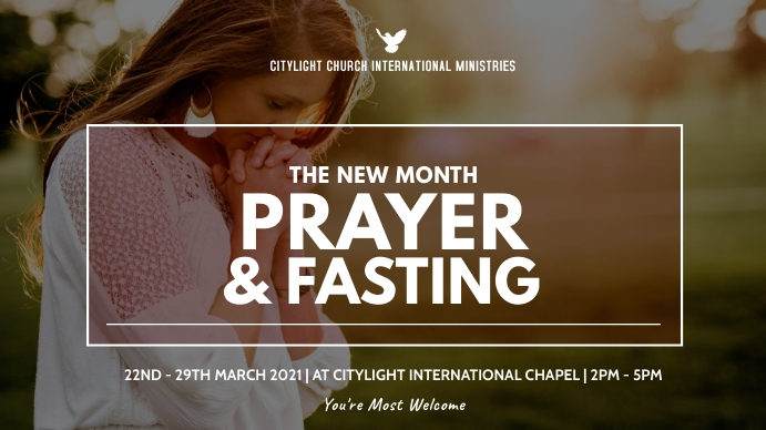 PRAYER AND FASTING CHURCH flyer Digitalt display (16:9) template