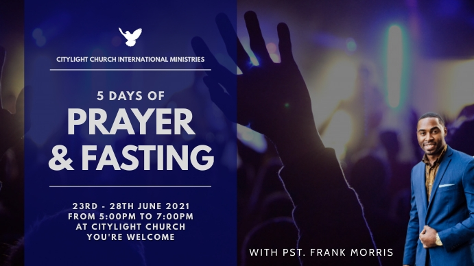 prayer and fasting church flyer Pantalla Digital (16:9) template