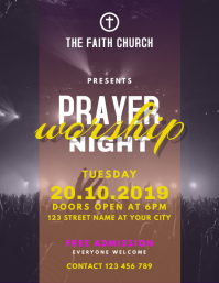 Prayer and Worship Night Church Flyer