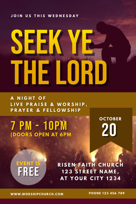 Prayer and Worship Night Church Service Template | PosterMyWall
