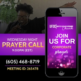 Prayer call flyer Instagram Post template