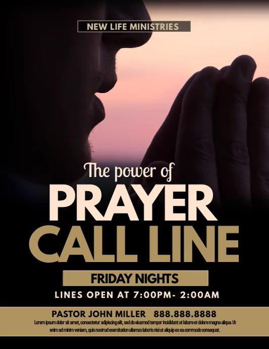 prayer call line ใบปลิว (US Letter) template