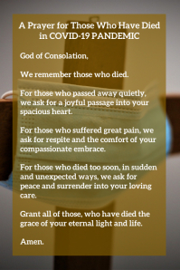 Prayer for Who Died In Pandemic Template Poster