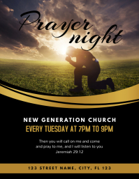 Prayer Night Church Flyer