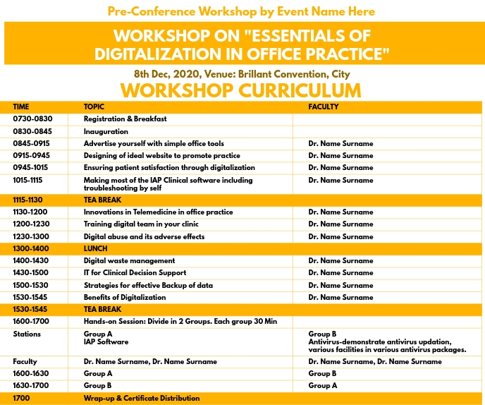 Pre-Conference Workshop Curriculum Template สามเหลี่ยมขนาดใหญ่