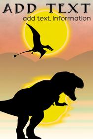 prehistoric landscape - dinosaur silhouettes under sun