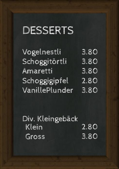 Menu Prices Offer Dessert Chalk Board Prices