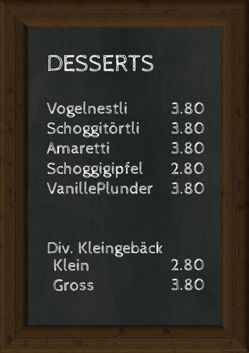 Menu Prices Offer Dessert Chalk Board Prices A4 template