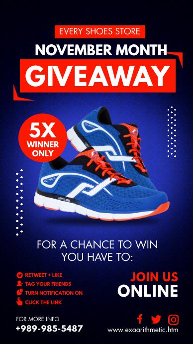 Premium Footwear Giveaway Poster Instagram Story template