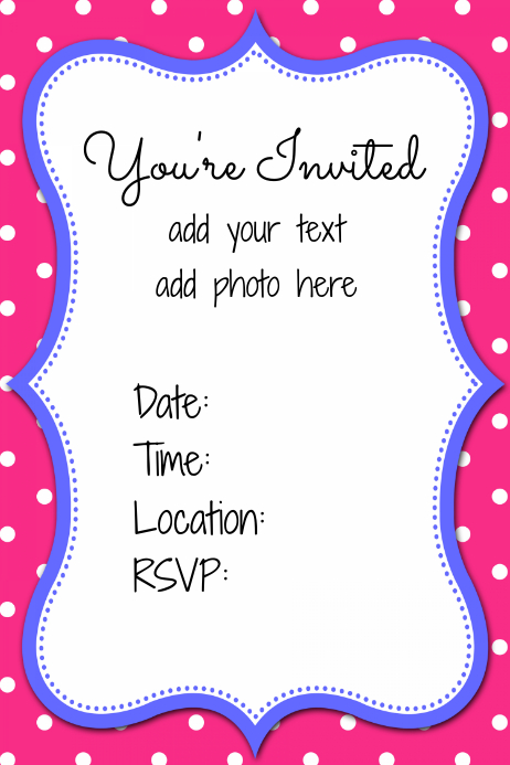 Preppy Pink And Blue Party Invitation Flyer Announcement Template