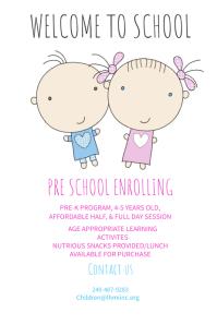Preschool Enrolling Poster Template