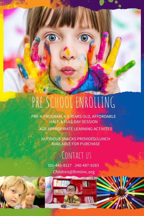 Preschool Enrollment Poster Template