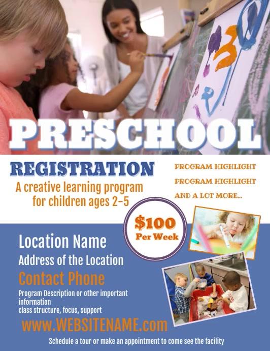 Preschool Flyer Folheto (US Letter) template