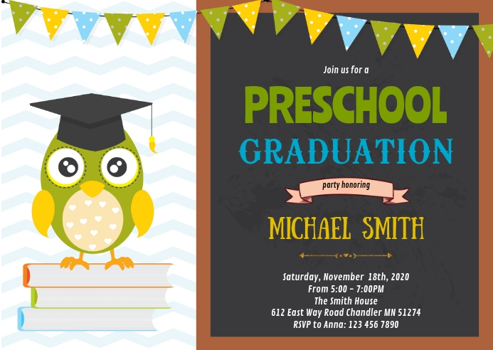 Preschool graduation party invitation A6 template