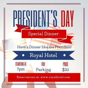 President's Day Dinner Deal Square Video template