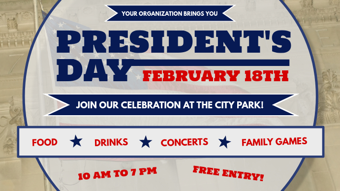 President's Day Event Digital Display Image