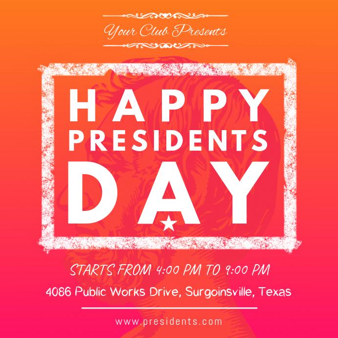 President's Day Event Invitation Orange