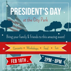 President's Day Event Square Video template