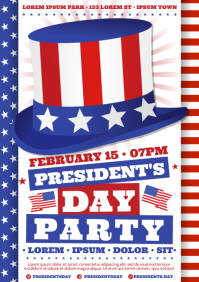 PRESIDENT'S DAY PARTY POSTER A4 template
