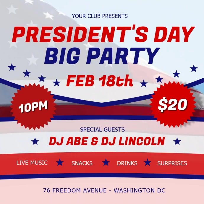 President's Day Party Square Video template