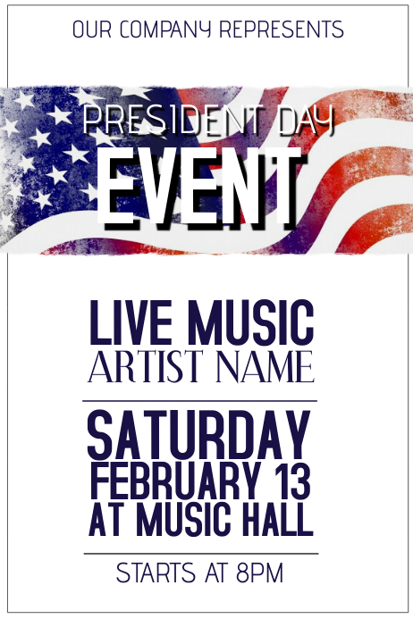 president day event poster template Plakat