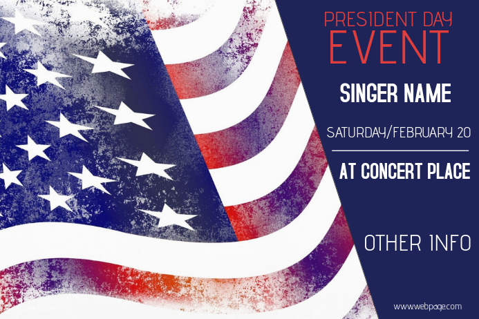 president day event poster template landscape