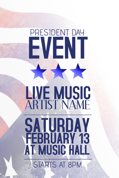 president day event poster template