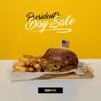 Presidents Day Burger Sale Album Cover template