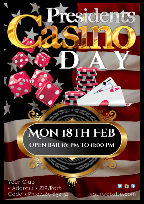 Presidents day Casino Night Poster