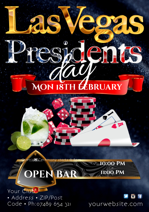 Presidents day Las Vegas Night Poster A2 template