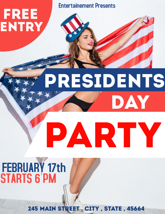 Presidents day party flyer advertisement