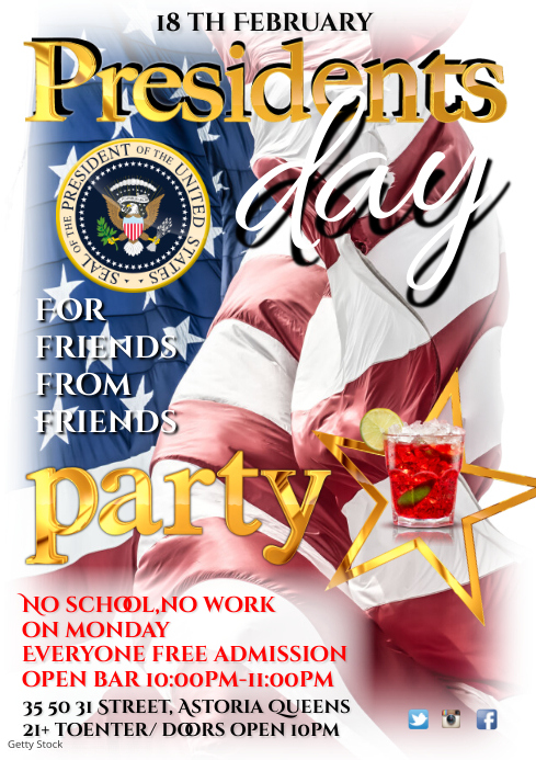 Presidents Day Party Poster