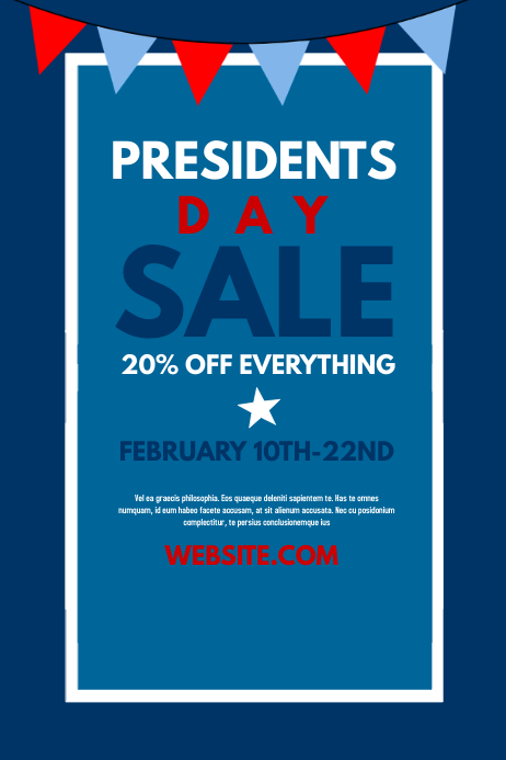 Presidents Day Sale Póster template