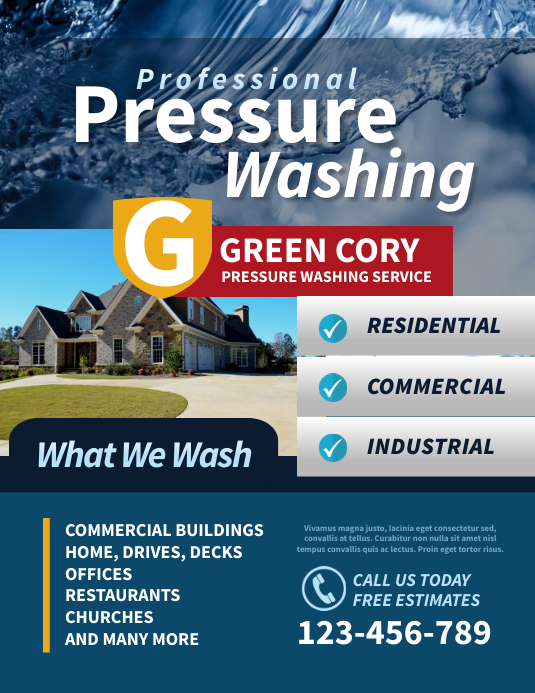 Pressure Washing Flyer Pamflet (Letter AS) template