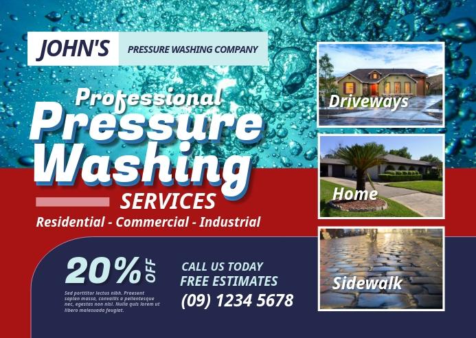 Pressure Washing Postcard template