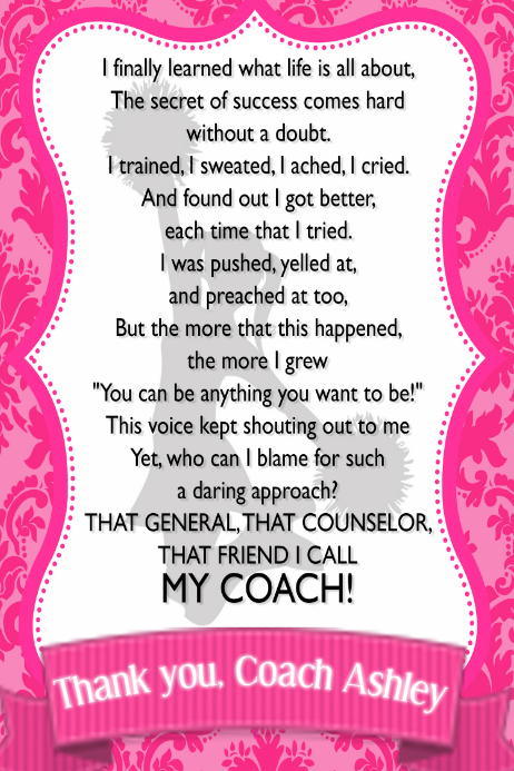 Pretty Pink Cheerleading Coach's gift poster team sports