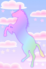pretty pink unicorn with stars & clouds