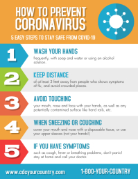 Prevent Coronavirus Covid-19 Prevention Flyer template
