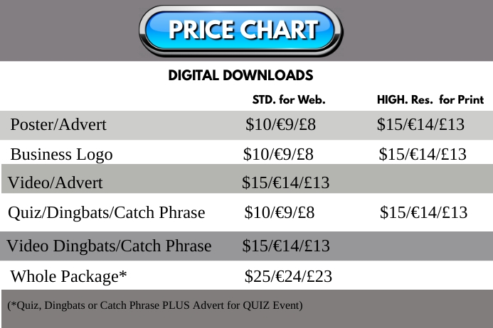 PRICE CHART Poster template