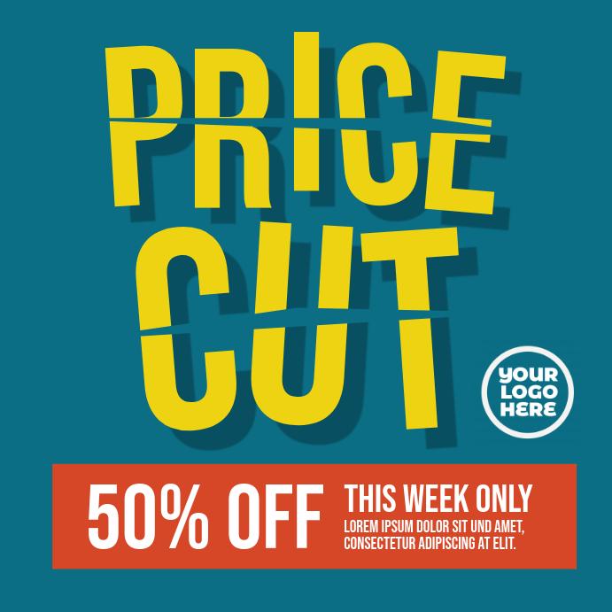 Price Cut Sale Ad Instagram-opslag template