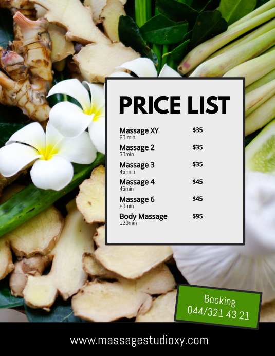 Price List Beauty Spa Massage Wellness Studio Template Postermywall