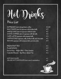 Price List Chalk Board Hot Drinks Menu Bar Ad