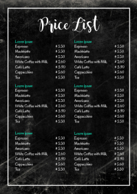 Price List Chalk Board Prices Services Offer A4 template