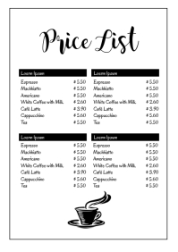 Price List Coffe Bar Restaurant Menu Offer Ad