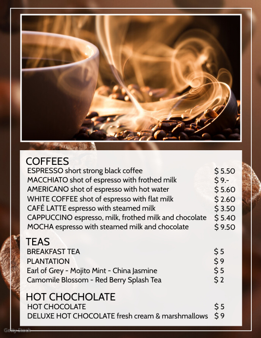 Price List Coffee Bistro Hot Drinks Bar Event Løbeseddel (US Letter) template