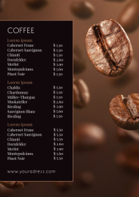 Price List Coffee Drinks card Flyer Template A4