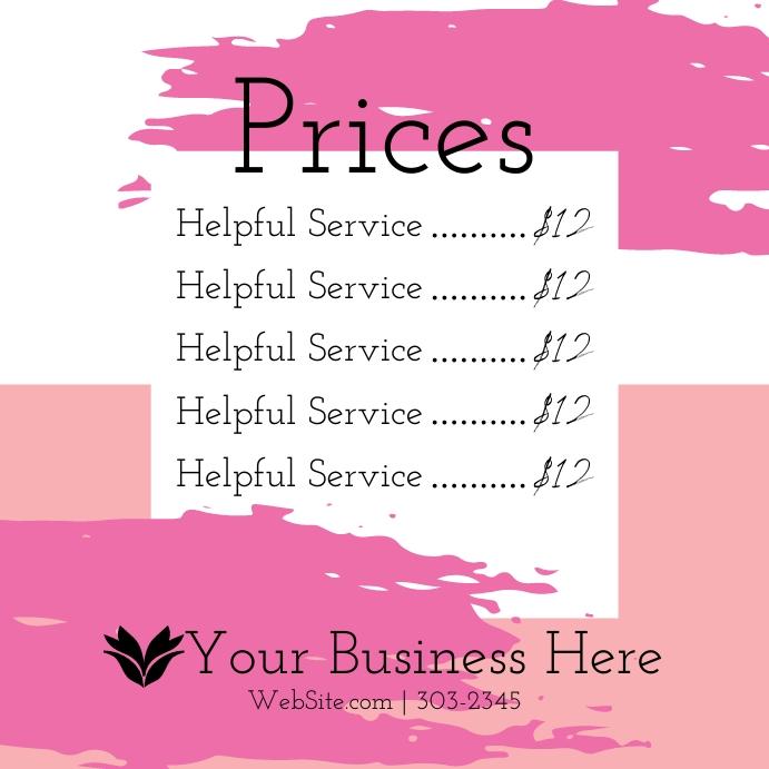 Price List Instagram Plasing template