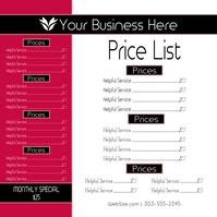 Price List Publicación de Instagram template