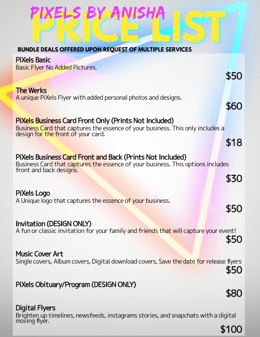 Price List Template Postermywall